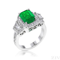 Ziva Vintage Emerald Cut Emerald Ring with Trapezoid & Pave Diamonds