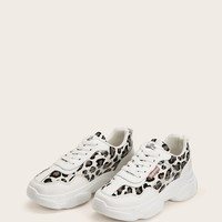 Leopard Pattern Chunky Heeled Trainers