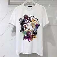 Versace classic personality colorful Medusa geometric pattern T-shirt fashion men and women round neck short-sleeved tops