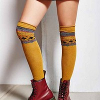 Patterned Over-The-Knee Sock- Mustard One