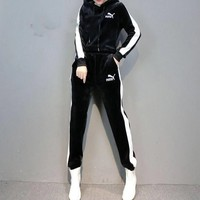"""Puma"" Women Casual Fashion Velvet Multicolor Long Sleeve Hoodie Trousers Set Two-Piece Sportswear"