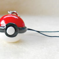Pokeball Charm with Cell Phone Strap, Gotta Catch Em All :D