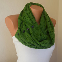 Green knit lace button infinity scarf circle scarf winter scarfs neck warmer cowl button scarf birthday gifts women's accessory