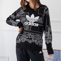 """Adidas"" Women Casual Retro Ethnic Totem Print Long Sleeve Sweater Round Neck Tops"