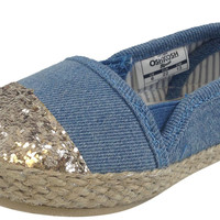 OshKosh B'Gosh Girl's Sadie Blue Canvas Espadrille Slip-Ons