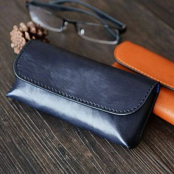 Handmade Vegetable Tanned Italian Leather Sunglass Case/Pouch