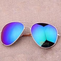 Unisex Sunglasses AVIATOR Eyewear Mirror UV Protection / Golden Frame Blue-green Glasses [8426375367]