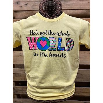 Southern Chics Apparel He's Got the Whole World in His Hands COVID-19 YOUTH Canvas T Shirt