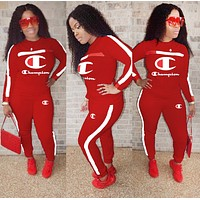 Champion Autumn And Winter Fashion New Letter Long Sleeve Two Piece Suit Sports Leisure Top And Pants Women Burgundy