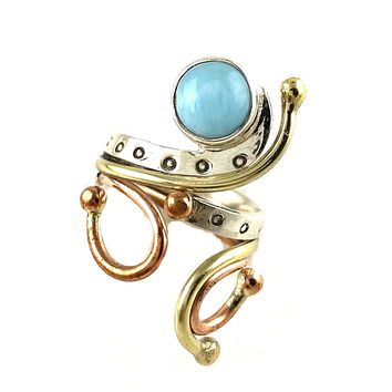 Larimar Three Tone Sterling Silver Adjustable Ring