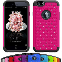 GIRLY iPhone 6s / 6 Plus (5.5 Inch) Crystal Studded Defender Cases by VALLT, Hybrid Dual Layer Rhinestone Bling Protective Case Cover for Apple I Phone - Lifetime Guarantee (Fire Pink)