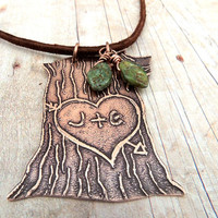 Boyfriend Girlfriend Jewelry, Personalized Initials in Tree, Lovers Heart, Carved Tree, Etched Copper, Valentine's Day Gift, Sweetheart