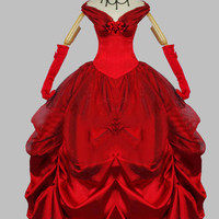 Cosplay Sexy Red Belle Adult Halloween Costume Ball Gown Party Dress Cosplay Dress