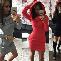 Women Plus Size Hooded Hoody Hoodie Dress Autumn Sport Wear Sweatshirt Dress Top [8023422023]