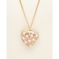 Beaded Heart Pendant Necklace: Charlotte Russe