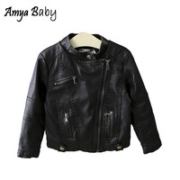 AmyaBaby Girls Jacket Toddler Kids PU Leather Motorcycle Jackets Child Girl Spring Autumn Coat Girl Fashion Black Outerwear