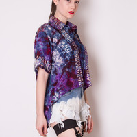 Vintage 1990s reconstructed Blue Purple tie dye GALAXY high low fishtail button down GRUNGE Short Sleeve blouse shirt