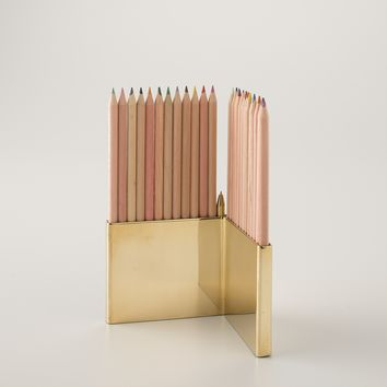 Colored Pencils With Brass Holder Set