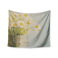 "Laura Evans ""O Daisy"" Green Yellow Wall Tapestry"