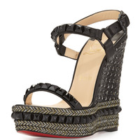 Cataclou Studded Red Sole Wedge Sandal, Black - Christian Louboutin