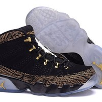 Girls Air Jordan 9 Gs Db With 17 On Black/metallic Gold - Beauty Ticks