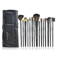 Roll up Case Cosmetic Brushes Kit 12/15 PCS Cosmetic Brush Set with Pouch Pro Wooden Handle Makeup Brush Tool (15pcs black)
