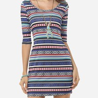 Casual Tribal Stripes Patchwork Round Neck Bodycon-dress