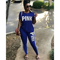 PINK Victoria's Secret Women Casual Fashion Shirt Top Tee Shorts Set Two-Piece Sportswear