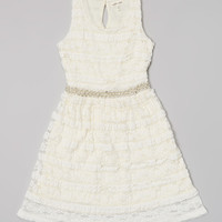White Lace Pearl Waist Dress | Daily deals for moms, babies and kids