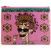 """Blue Q Zipper Pouches Day of the Dead 9 1/2"""" x 7 1/4"""" 95% Post Consumer Recycled Material"""