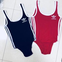 ADIDAS SWIMMER SWIM TAN TOP VEST SHIRT V NECK WOMEN LETTERS BOTTOMING CLOTHES BIKINI BLACK