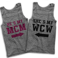 He's My MCM She's My WCW Best Friends Shirts! Matching Couple's Shirts On Tri Blend Athletic Gray American Apparel Tank Tops
