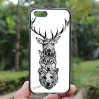 Deer Wolf Bear ,iphone 4 case,iPhone4s case, iphone 5 case,iphone 5c case,Gift,Personalized,water proof