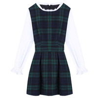 Green Plaid Long Sleeve Mini Dress