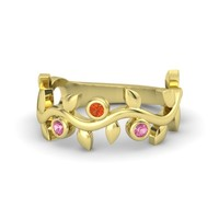 Round Fire Opal 18K Yellow Gold Ring with Pink Tourmaline