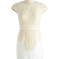 ModCloth Short Cap Sleeves Sheath Fondant and Lace Dress