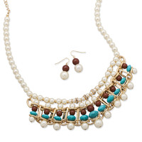 Gold Tone Beaded Imitation Pearl Fashion Necklace and Earring Set