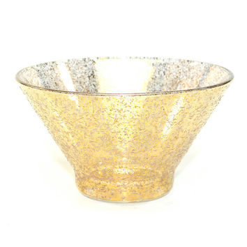 Mid-Century Gold Leaf Splatter Glass Bowl - Very Large, Group Salad Serving Size - Retro Atomic Style, Textured - Vintage Home Kitchen
