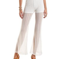 Ivory High-Waisted Flared Lace Pants by Charlotte Russe