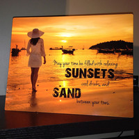 Metal Beach Sign - May Your Time be Filled with Relaxing Sunsets, Cool Drinks, and Sand Between Your Toes.