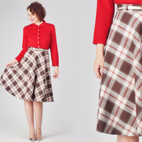 50s Plaid Circle Skirt / High Waist Tartan Midi Skirt / Brown Ivory & Red Mid Century Retro Mad Men Pin Up Small S Skirt