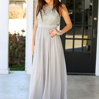 Lost in Lace Maxi - Grey