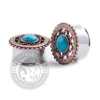 Bronze Tribal Shield with Turquoise Center Double Flared Steel Plugs