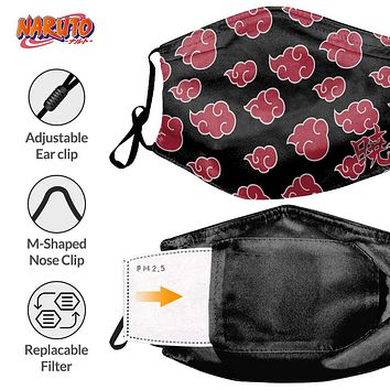 Naruto Akatsuki Clouds Face Mask , Comfortable /Adjustable/ Protective  Face Mask w/ Back Pocket for Filter