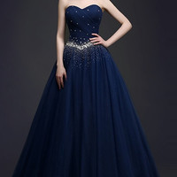 Beaded Waist Pleated Strapless Gown