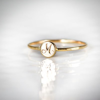 14k Gold Signet Stacking Ring - Hand Engraved Signet Ring, Initial Ring, Gold Letter Ring, Personalized Jewelry