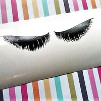 Long Lashes Decal for cups, Beauty party stickers, Eyelash Sticker, Feathered Lashes decal for Mug, Sleeping eyes