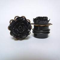 Black Rose Plugs / Gauges. 4g / 5mm 2g / 6mm 0g / by TheGaugeQueen