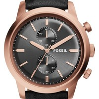 Men's Fossil 'Townsman' Chronograph Leather Strap Watch, 48mm