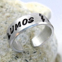 Lumos Nox - Harry Potter Ring - Hand Stamped, Adjustable